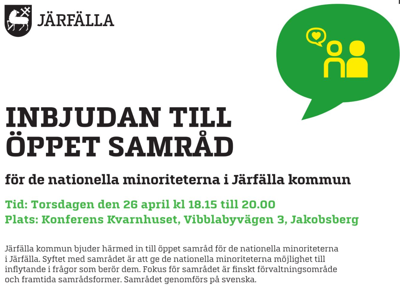 Öppet samråd i Järfälla – 26 april